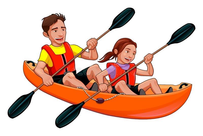 Pai e filha no caiaque ilustração royalty free