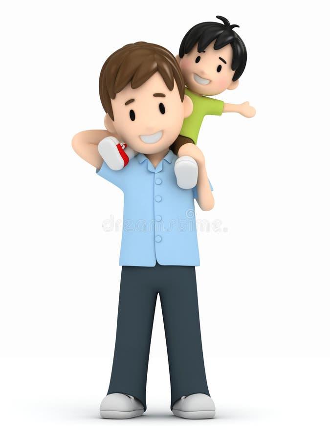 Pai e filho ilustração royalty free