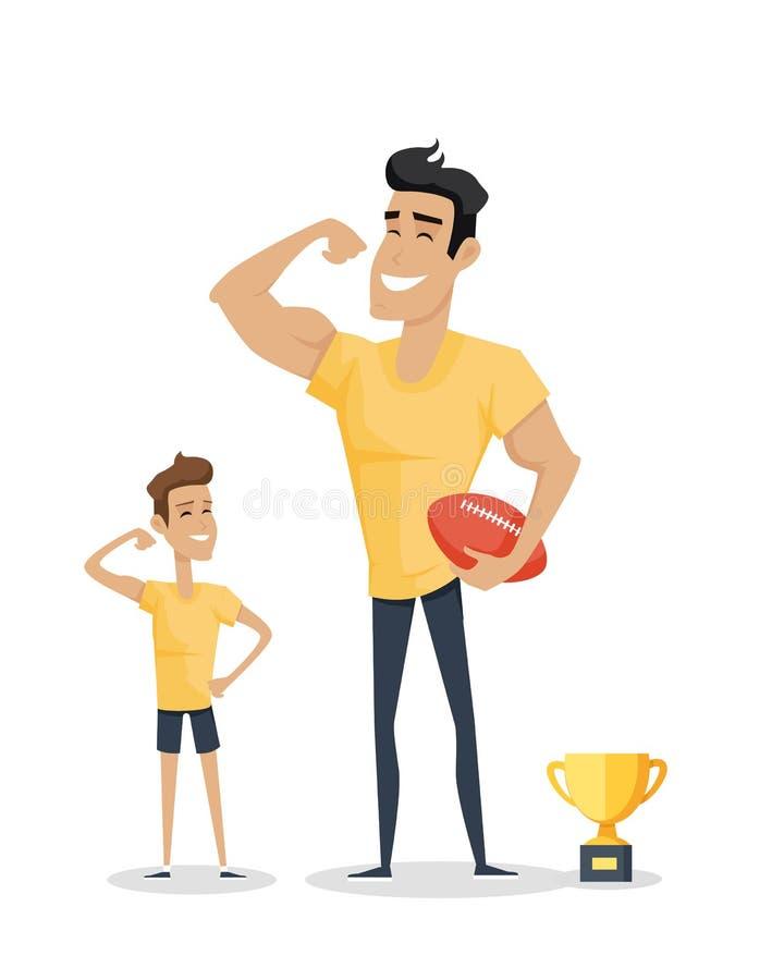 Pai e filho adorável com futebol e copo do basquetebol ilustração do vetor