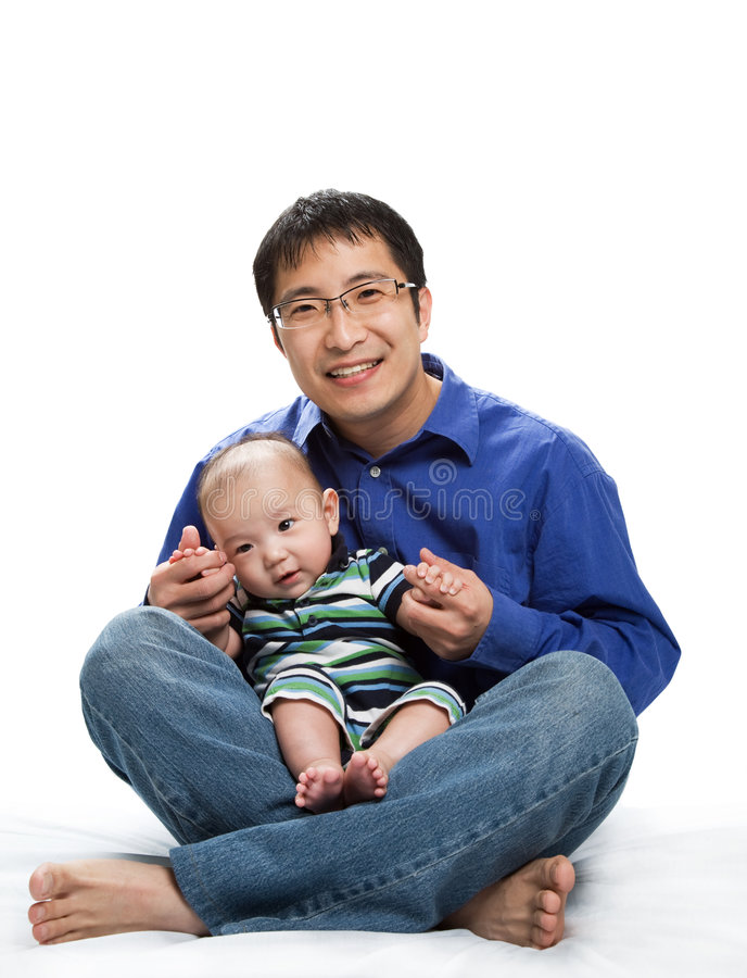 Pai e filho asiáticos fotografia de stock