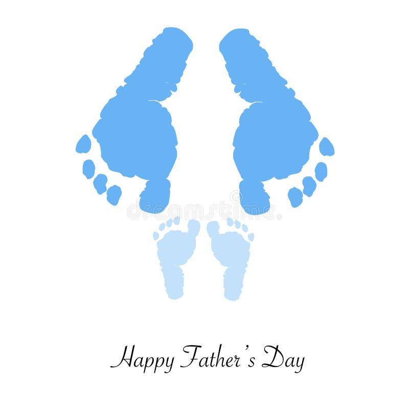 Pai e filho Cópias do pé Cartão do dia do ` s do pai ilustração do vetor