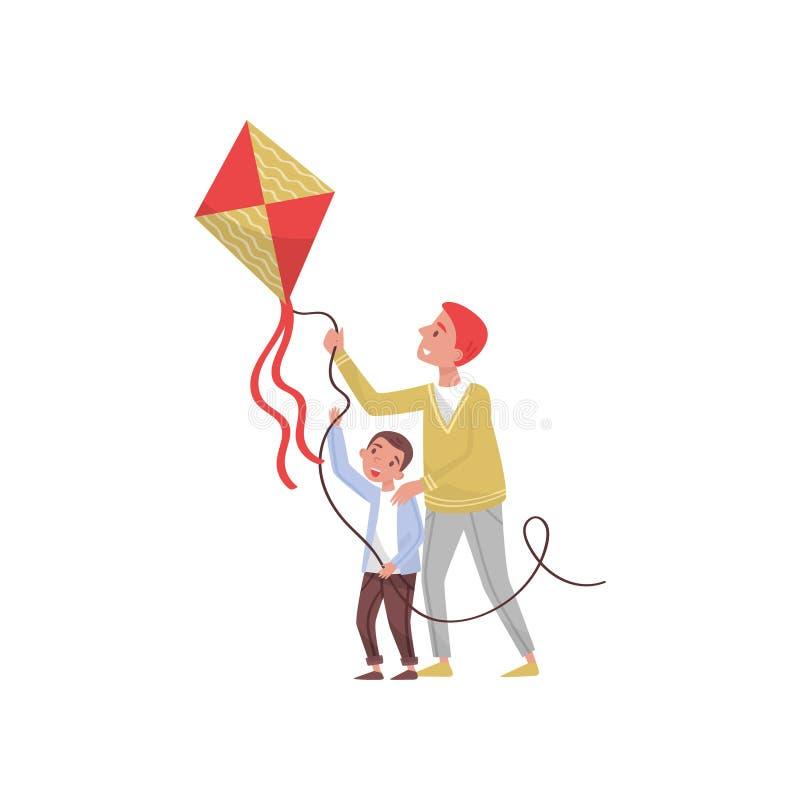 Pai e filho com o papagaio do voo exterior Infância feliz Paizinho que tem o divertimento com sua criança Ilustração lisa do veto ilustração do vetor