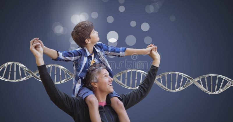 Pai e filho com sparkles e ADN genético fotografia de stock royalty free