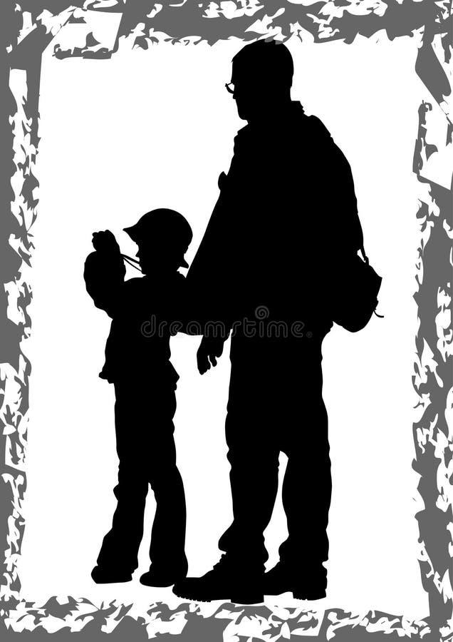 Pai e filho com uma câmera ilustração do vetor