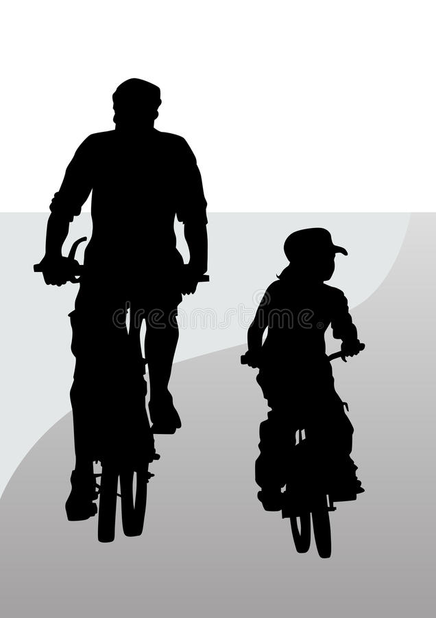 Pai e filho do ciclista ilustração stock