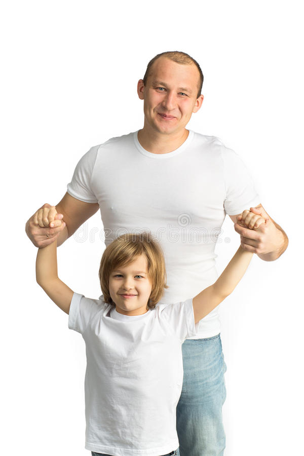 Pai e filho felizes Isolado no branco foto de stock royalty free