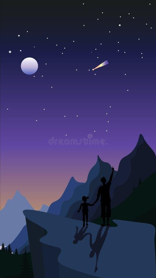 Pai e filho nas montanhas que olham as estrelas no céu noturno ilustração do vetor