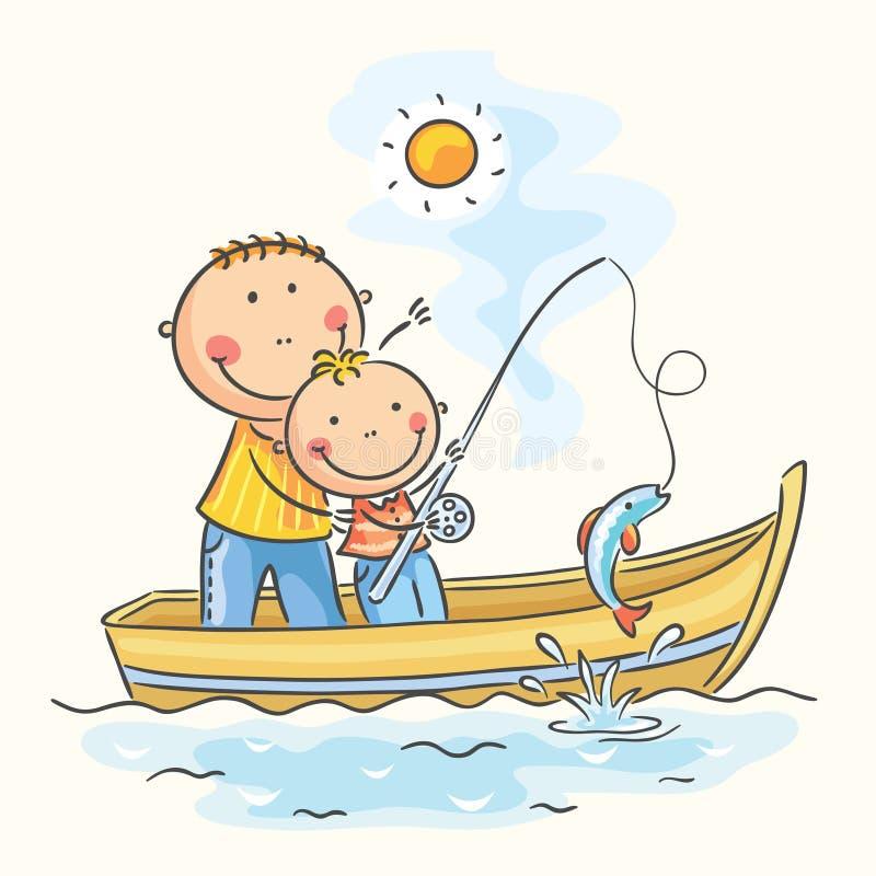 Pai e filho no barco ilustração stock