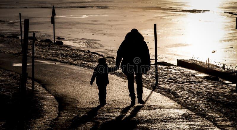 Pai e filho perto de um lago congelado fotografia de stock royalty free