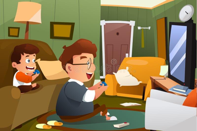 Pai e filho que jogam o jogo de vídeo em casa ilustração do vetor