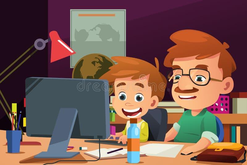 Pai e filho que trabalham em um computador ilustração do vetor