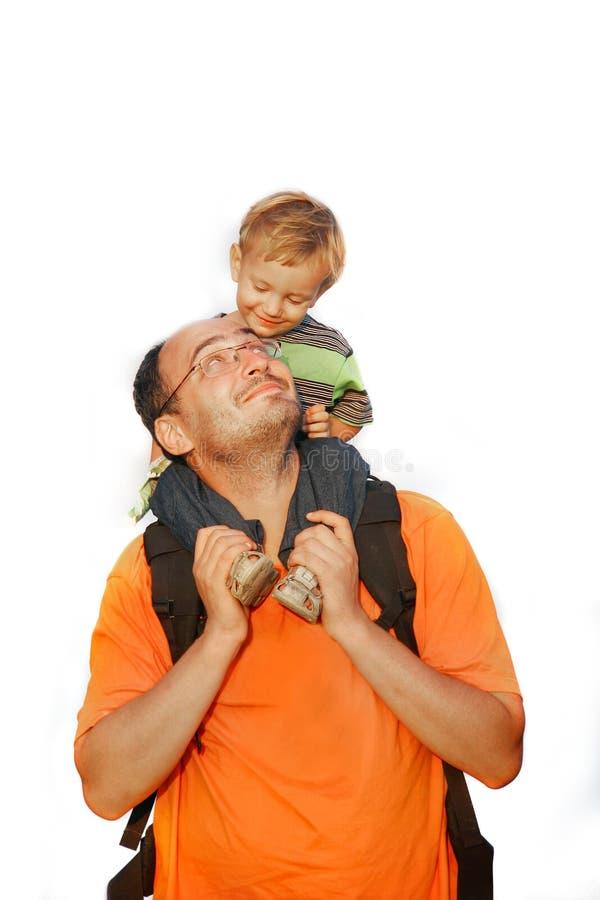 Pai e filho sobre o branco fotografia de stock