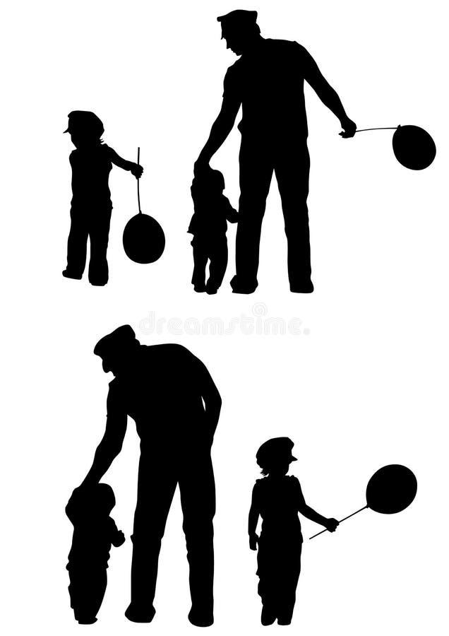 Pai e miúdos ilustração do vetor