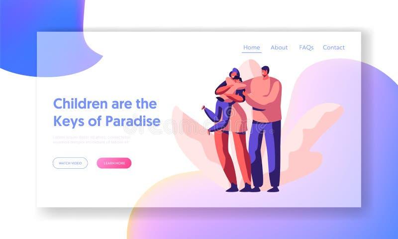 Pai e página de amor felizes da aterrissagem das crianças Web site do filho do afago da mãe ou pai de inquietação Hold Wife Shoul ilustração stock