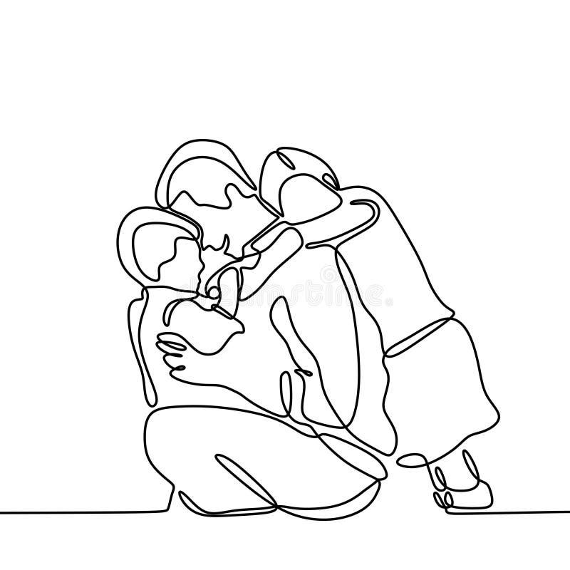 Pai e suas duas crian?as a l?pis cont?nuo desenho Father' do filho e da filha do um; tema do dia de s ilustração royalty free