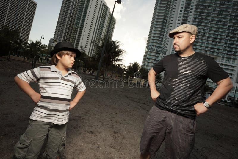 Pai em conflito com seu filho foto de stock royalty free
