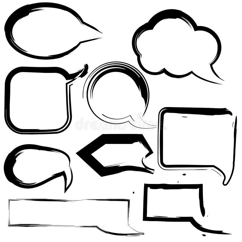 Pai för hand för vektor för slaglängd för borste för grunge för anförandeballong stock illustrationer