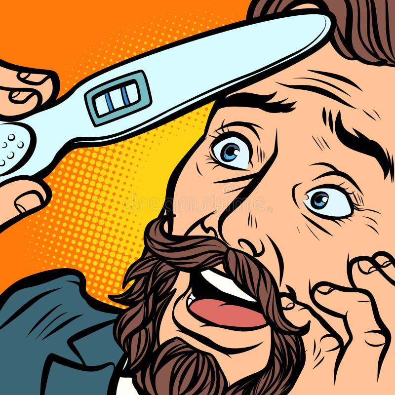 Pai farpado alegre do marido do homem do moderno do teste de gravidez ilustração stock