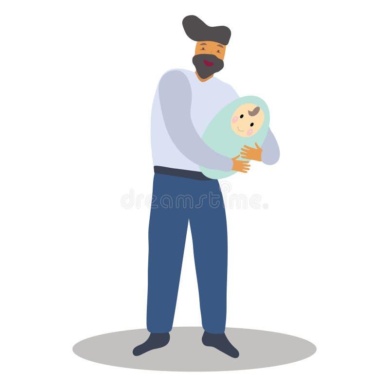 Pai feliz do homem que guarda um bebê recém-nascido ilustração royalty free