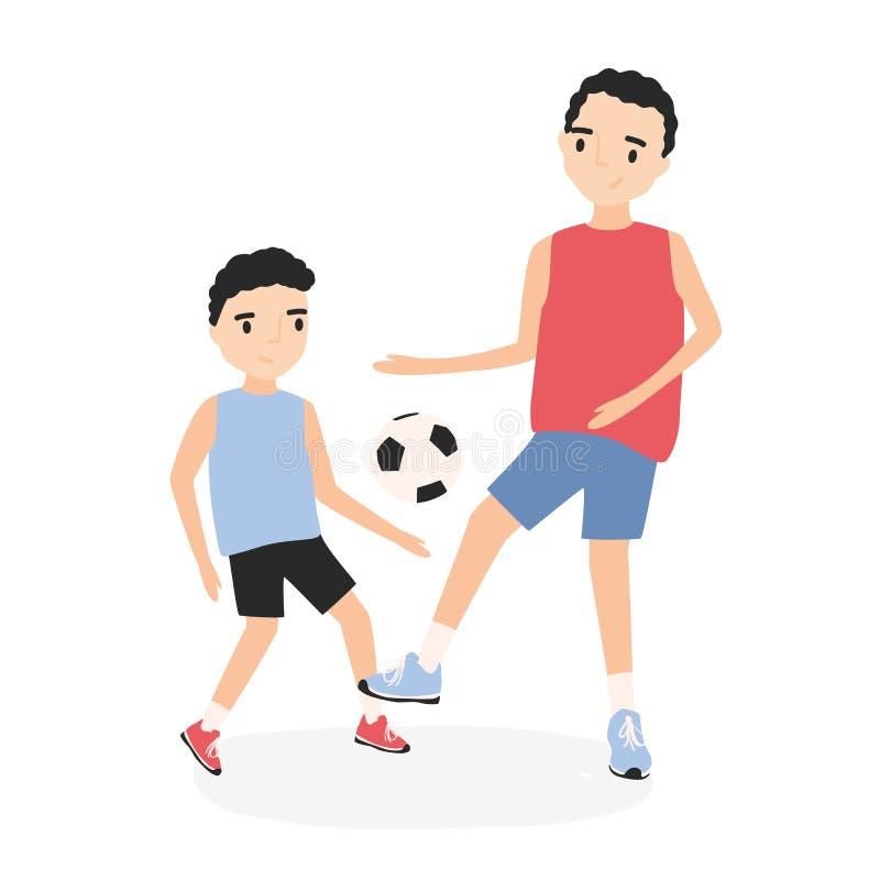 Pai feliz e filho que jogam o futebol Futebol praticando do paizinho e da criança Pai e criança durante o treinamento do jogo dos ilustração do vetor