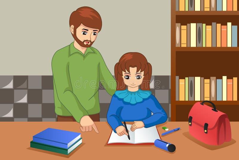 Pai Helping His Daughter que faz a ilustração dos trabalhos de casa ilustração do vetor