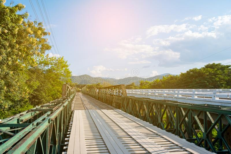 Pai Historical bridge, Mae Hong Son, Thailand. Blue sky daytime scene royalty free stock images
