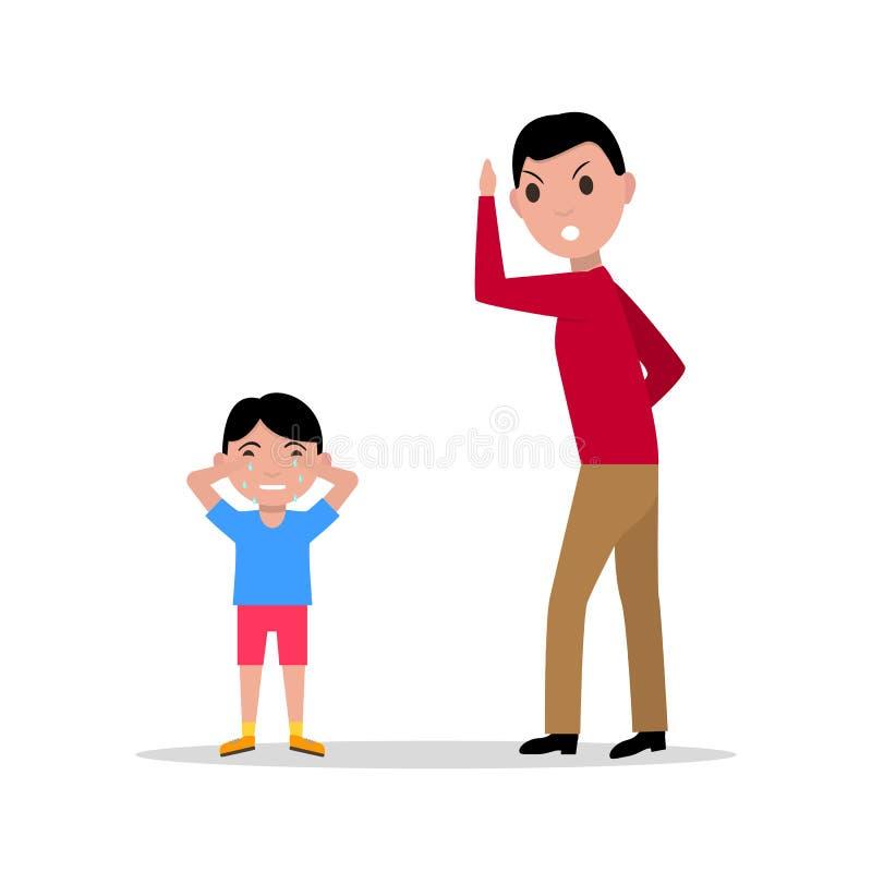 Pai irritado dos desenhos animados do vetor que discute sua criança ilustração royalty free