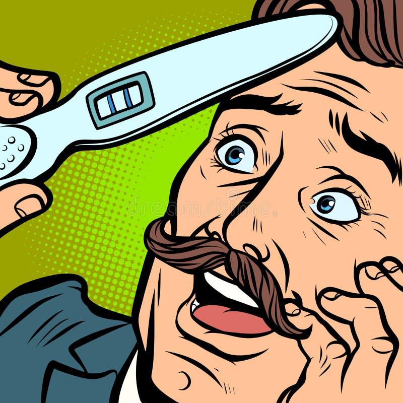 Pai moustached alegre do marido do homem do teste de gravidez ilustração do vetor