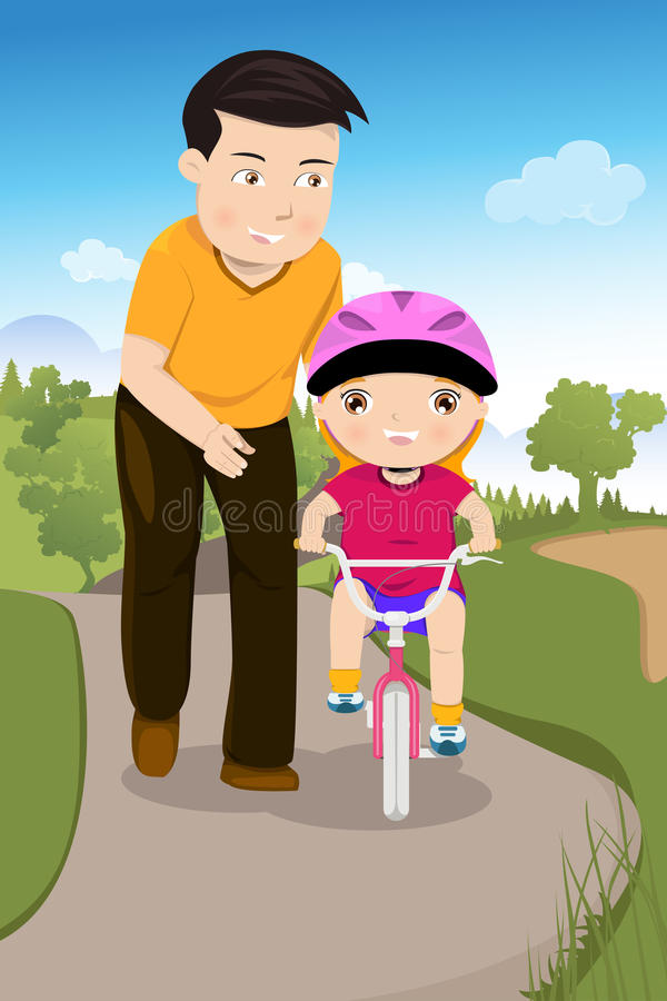 Pai que ensina sua filha que monta uma bicicleta ilustração stock