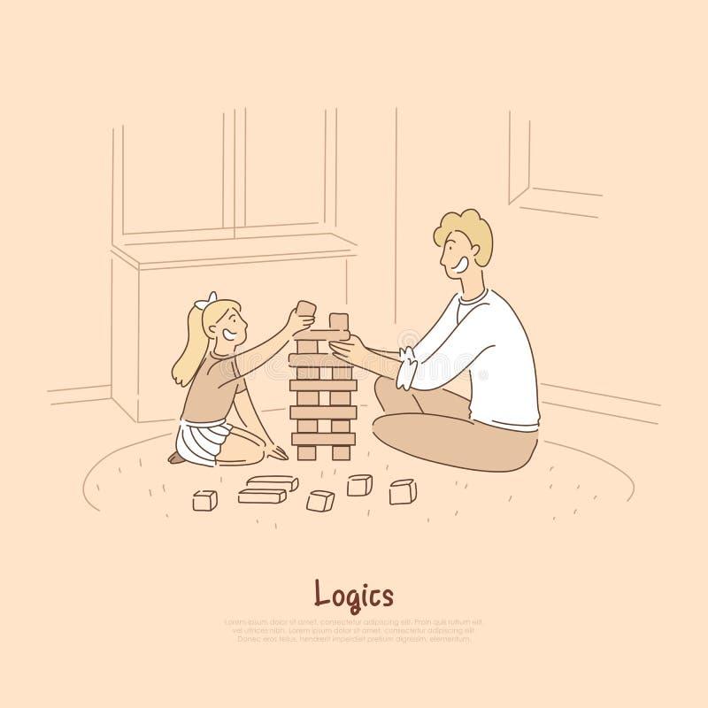Pai que joga com criança, paizinho e filha, criança em idade pré-escolar que constrói a torre dos cubos de madeira, bandeira dos  ilustração stock