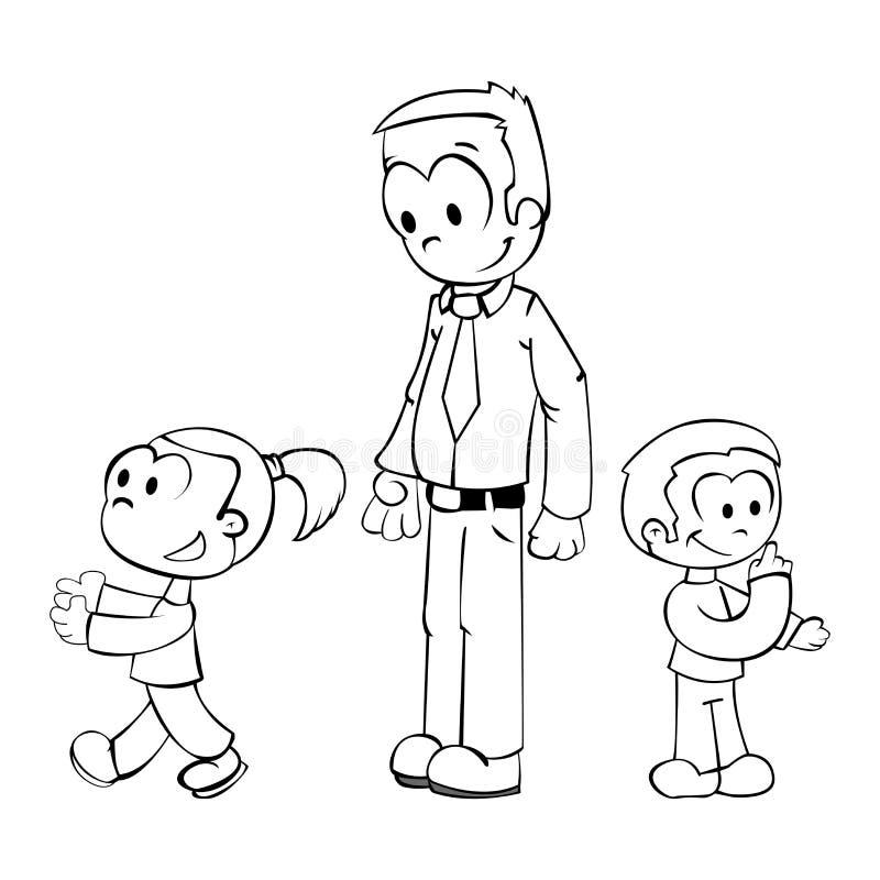 Pai que joga com miúdos ilustração royalty free