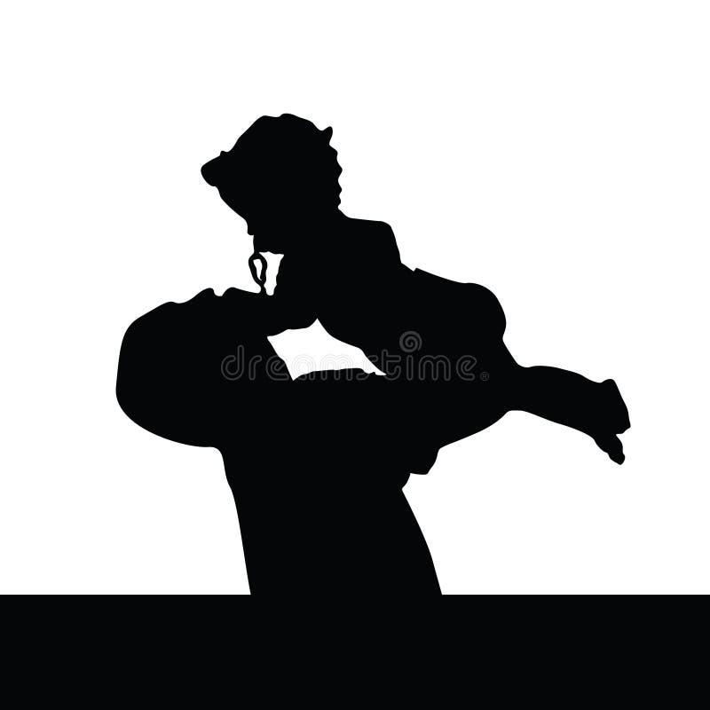 Pai que joga com silhueta da filha ilustração royalty free