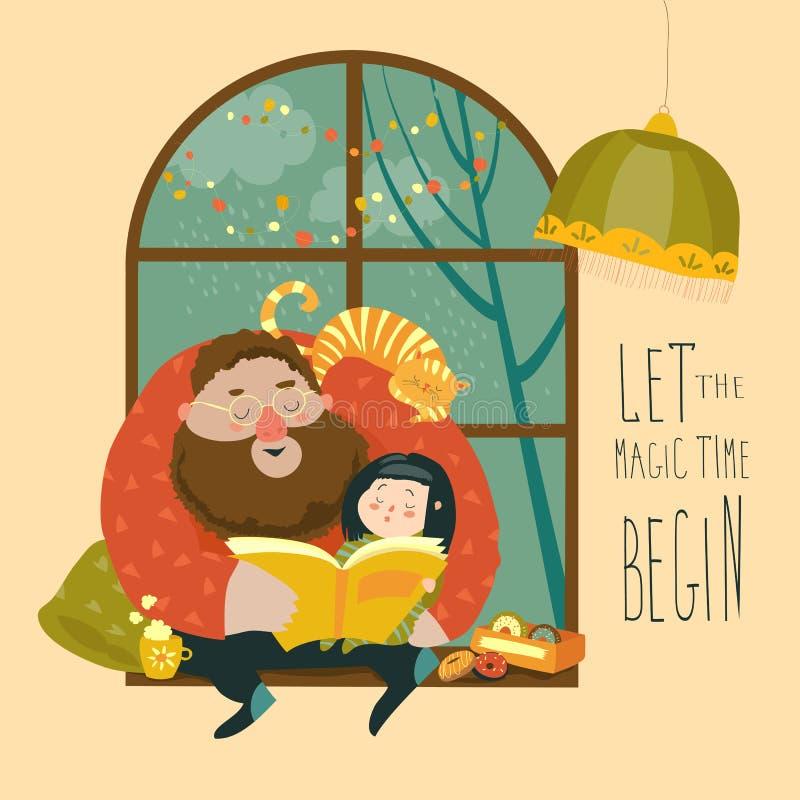 Pai que lê um livro a sua filha ilustração do vetor