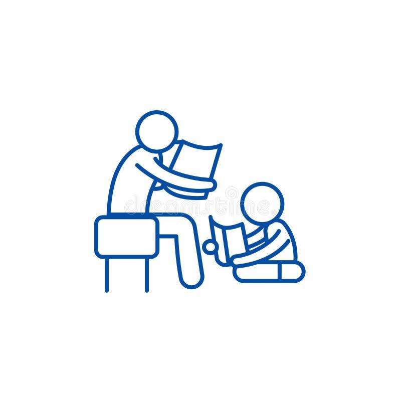 Pai que lê uma história a uma linha conceito da criança do ícone Pai que lê uma história a um símbolo liso do vetor da criança, s ilustração stock