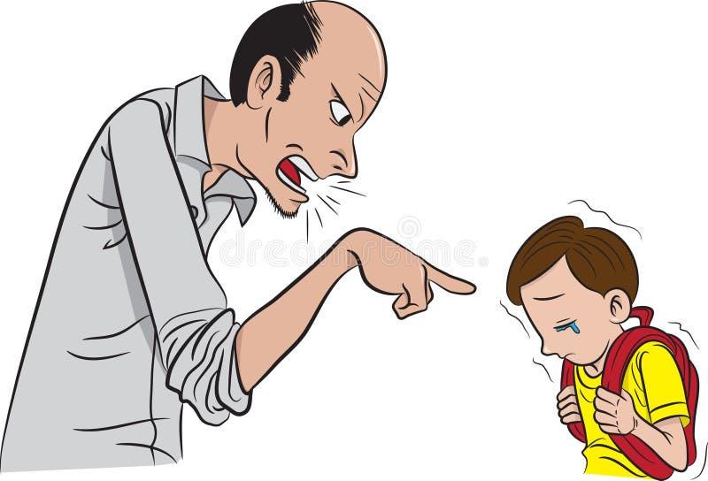 Pai que scolding seu filho ilustração do vetor