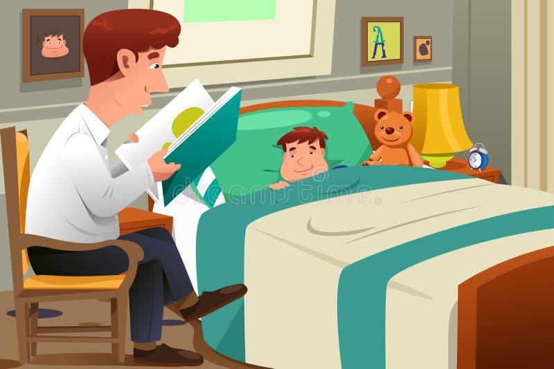 Pai Reading Story ilustração royalty free