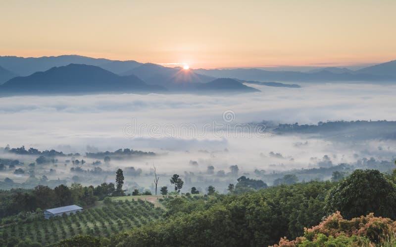 Pai Thailand landskap med mist i dalarna på soluppgång royaltyfri foto