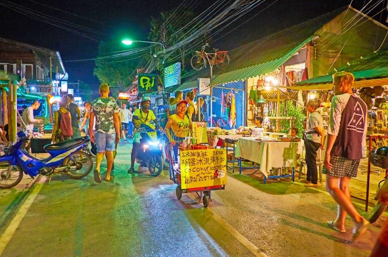 Coconut ice cream in Night Market, Walking street, Pai, Thailand royalty free stock image