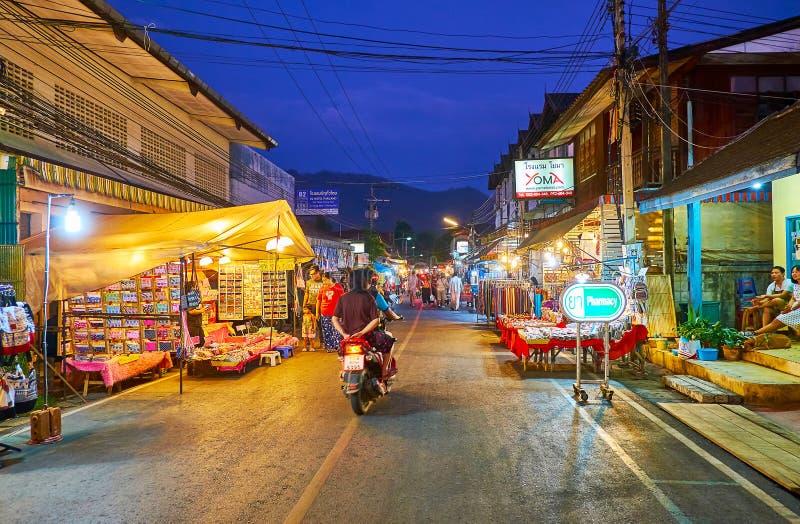 Walking street of Pai, Thailand royalty free stock photos