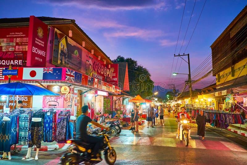 Busy Walking street, Pai, Thailand stock photo