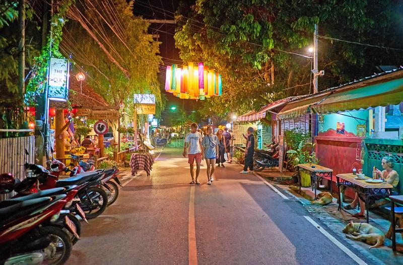 Walking street of Pai in evening, Thailand royalty free stock photos