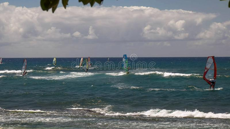 PAIA,美国- 2015年8月10日:很多个风帆冲浪者宽射击ho'okipa海滩的 库存图片