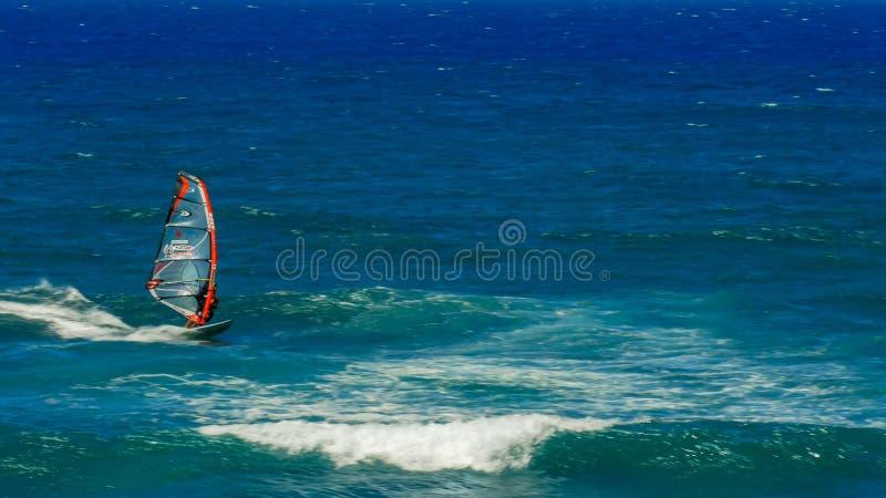 PAIA,美国- 2015年8月10日:迎风的伸手可及的距离的风冲浪者在ho'okipa 免版税库存照片