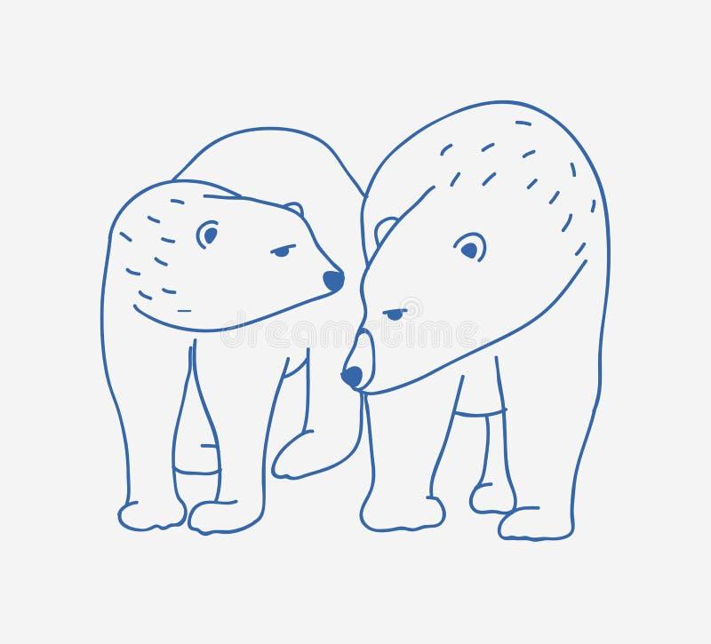 Paia adorabili degli orsi polari disegnati a mano con le linee di contorno su fondo bianco Disegno di scarabocchio delle coppie d illustrazione vettoriale