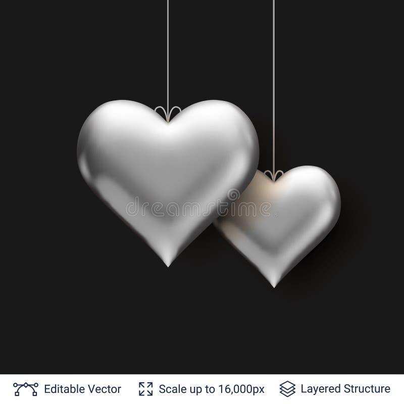 Paia degli aerostati d'argento a forma di del cuore 3D royalty illustrazione gratis
