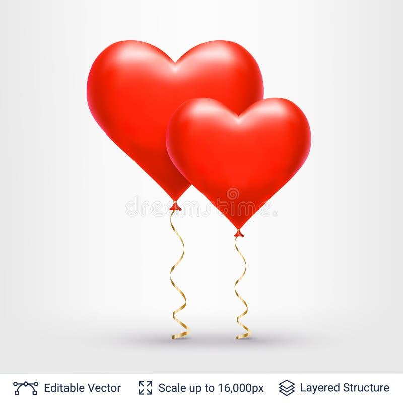 Paia degli aerostati a forma di del cuore 3D royalty illustrazione gratis