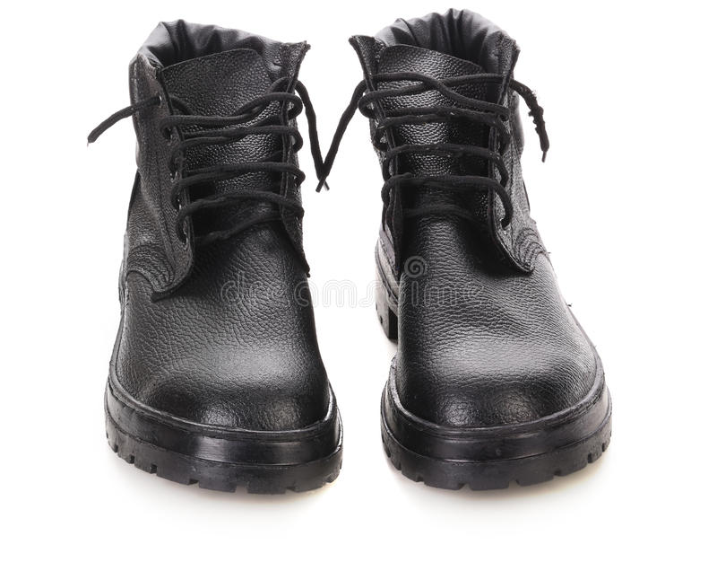 Paia degli stivali del nero di inverno. fotografie stock