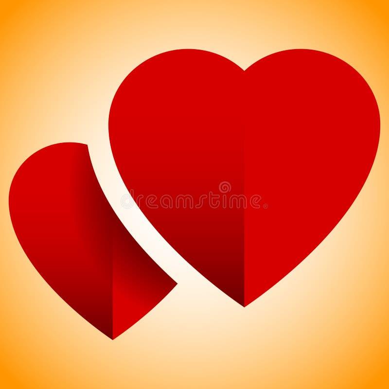 Paia dei cuori con ombra - elemento astratto per amore, ro di progettazione illustrazione vettoriale