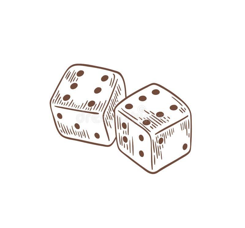 Paia dei dadi che si trovano con i sixes dal lato superiore disegnato con le linee di contorno su fondo bianco Dispositivo di gio royalty illustrazione gratis