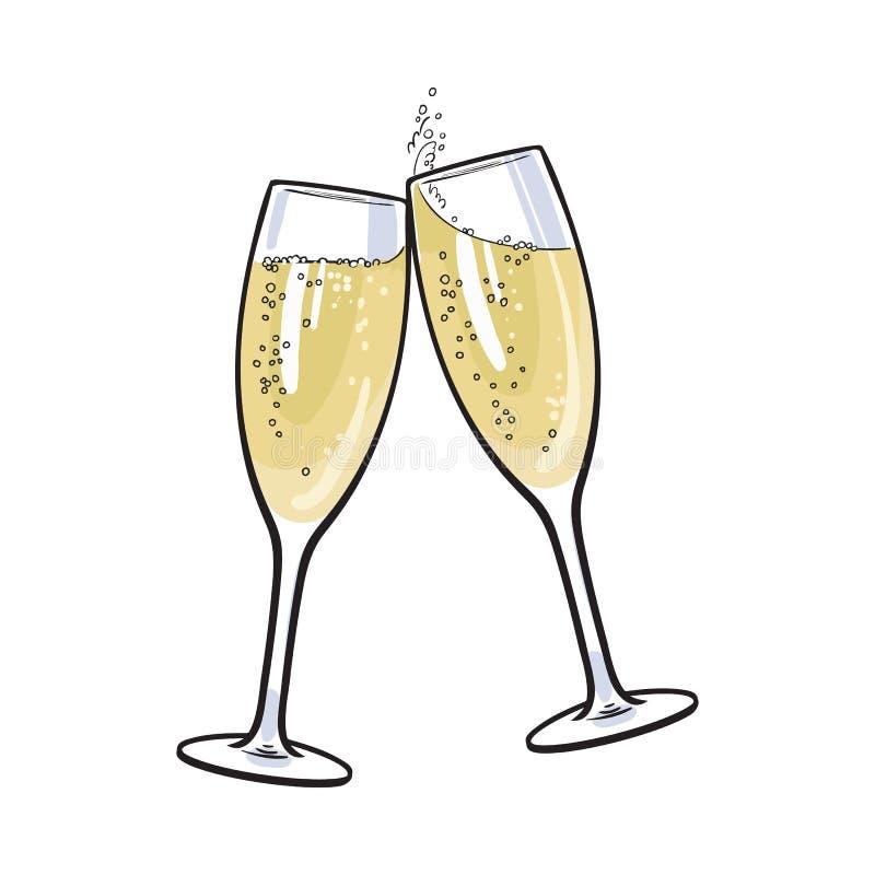 Paia dei vetri del champagne, pane tostato di festa illustrazione di stock